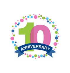 10th anniversary colored logo design happy vector