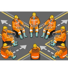 Isometric shunter at work in eight positions vector
