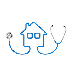 Stethoscope in shape of house in blue design vector