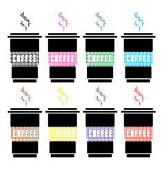 high detailed of colorful cups vector image