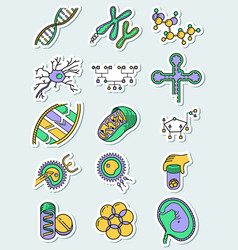 Science icons set with genetic and vector