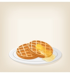 Waffles with a piece butter vector