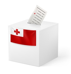 Ballot box with voting paper tonga vector