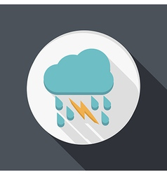 Paper flat icon cloud rain lightning vector