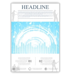 Abstract blue music flyer design vector