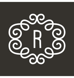 White vintage twirl frame for r letter vector