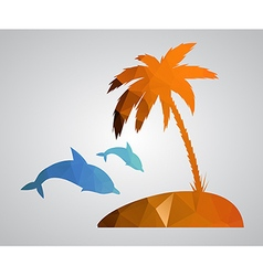 Card in polygonal style beach palm tree island dol vector