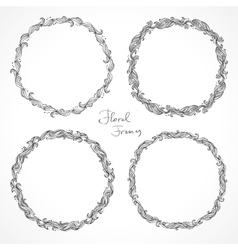 Set of floral decorative frames vector image