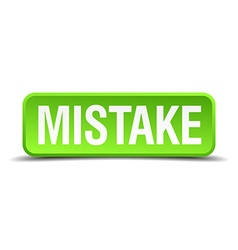 Mistake green 3d realistic square isolated button vector