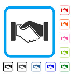 acquisition handshake framed icon vector image