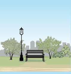 bench in city park spring landscape city tree vector image vector image