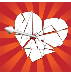 Broken heart pierced by an arrow vector