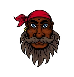 Cartoon bearded old pirate with red bandanna vector