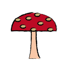Cartoon mushroom nature botanical icon vector