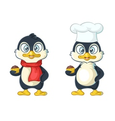 cartoon penguin chef vector image vector image