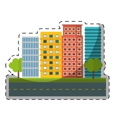 colorful city scene and building with trees image vector image
