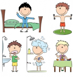 Daily morning boy's life vector