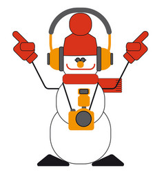 Dancing snowman with headphones and a camera vector