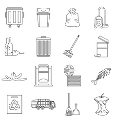 Garbage thing icons set outline style vector