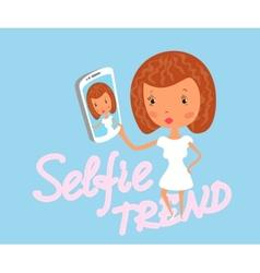 Girl is taking selfie vector image vector image