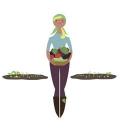Girl with basket of vegetables vector