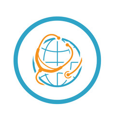 global health care icon flat design vector image