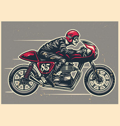 Hand drawing man riding a cafe racer vector