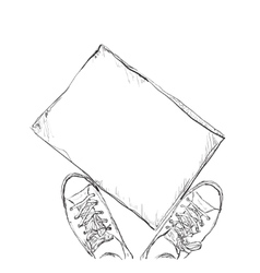 Hand drawn sneakers Frame for text vector image vector image