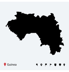 High detailed map of Guinea with navigation pins vector image vector image
