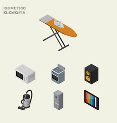 Isometric technology set of television music box vector