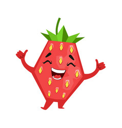 laughing funny strawberry cute cartoon emoji vector image vector image