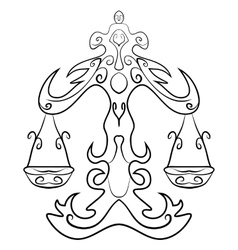 Libra tattoo ink sketch vector