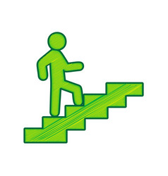 man on stairs going up lemon scribble vector image vector image