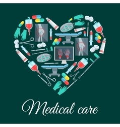 Medical care medicine heart shape poster vector image vector image