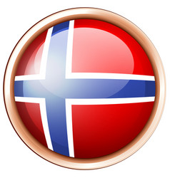 Norway flag on round button vector