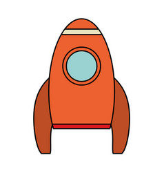 Orange rocket space travel vector