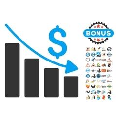 Recession icon with 2017 year bonus symbols vector
