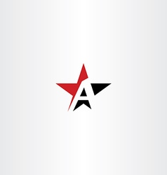 Red black star letter a logo icon vector