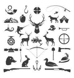 Set of hunting and fishing objects design vector