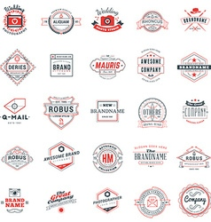 Set of retro logotype templates Collection of 25 vector image vector image
