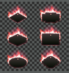 Set of six frames surrounded with red flame vector