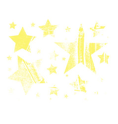 set of stars in grunge style vector image