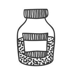 Silhouette monochrome bottle with salt and pepper vector