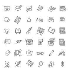 simple set of copywriting related line vector image