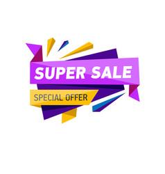 Super sale proposition sticker in triangle style vector