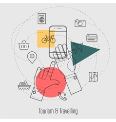 Tourism and Travelling Line Concept vector image vector image
