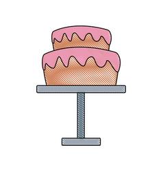 Wedding cake and pedestal sweet food vector