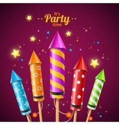 Party rocket fireworks flyer card vector