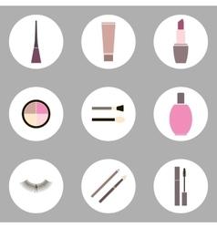 Cosmetic flat icon set vector image