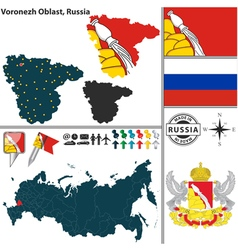 Map of oblast of voronezh vector